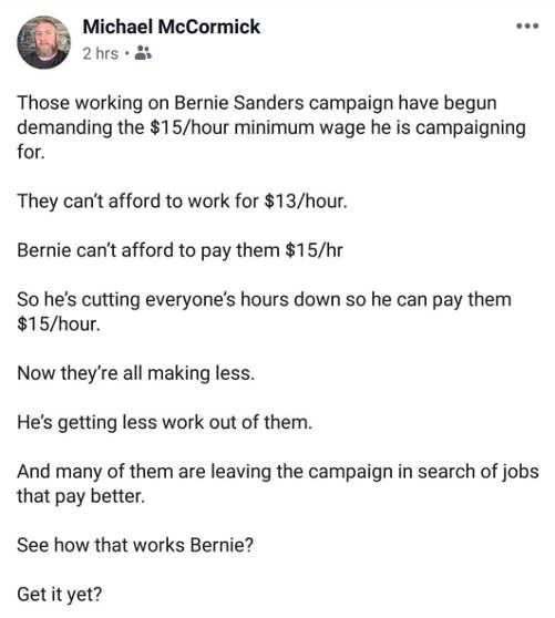tweet bernie sanders increase wages cut hours mccormick