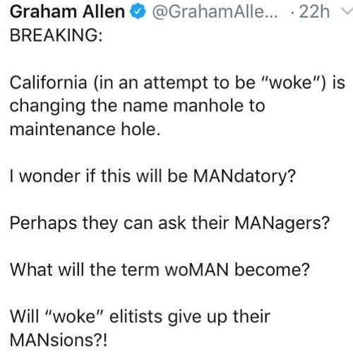 tweet california woke manhole to maintenance hold mandatory