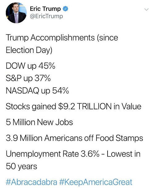 tweet eric trump accomplishments since election day