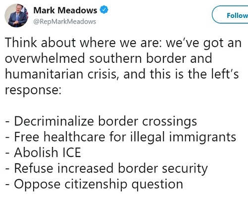tweet we have border humanitarian crisis left response abolish ice free healthcare decriminalize oppose citizenship question