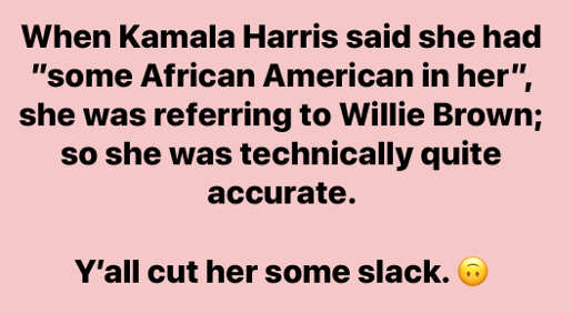 when kamala harris said little african in me referring to willie brown cut some slack