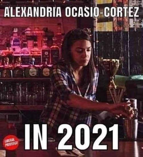 aoc ocasio cortez in 2021 bartending again