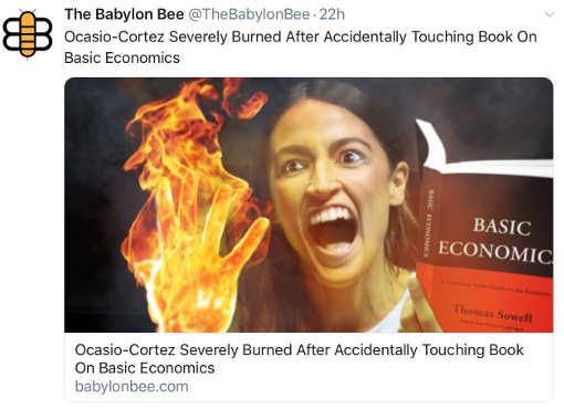 babylon bee aoc ocasio cortez hand burning touching economics book