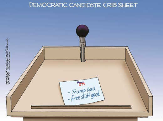 democratic debate crib sheet trump bad free stuff good