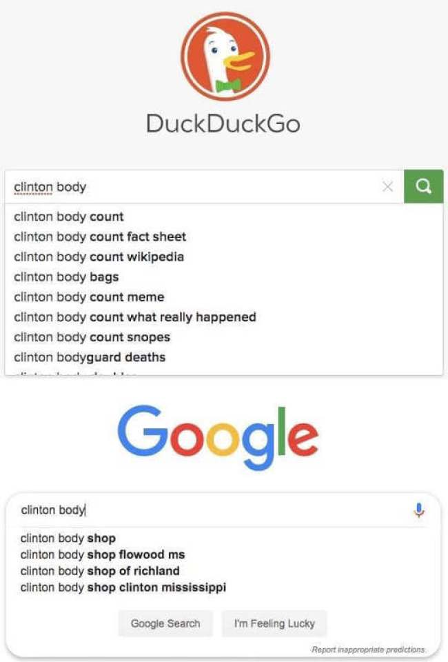 duckduckgo vs google clinton body count bias