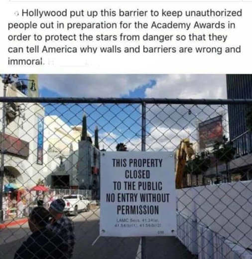 hollywood barrier to lecture on how walls are immoral