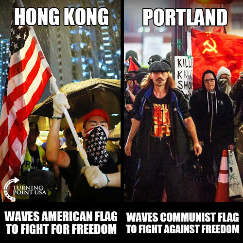 hong kong protesting with american flag portland wave communist flag fight against freedom