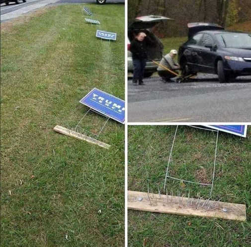 how to post trump signs spikes take out tires