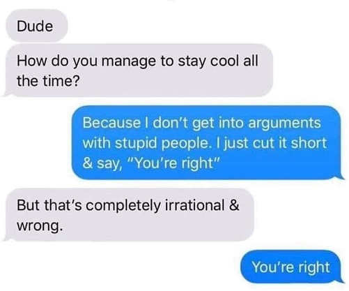 how to stay cool never get into arguments with stupid people youre right