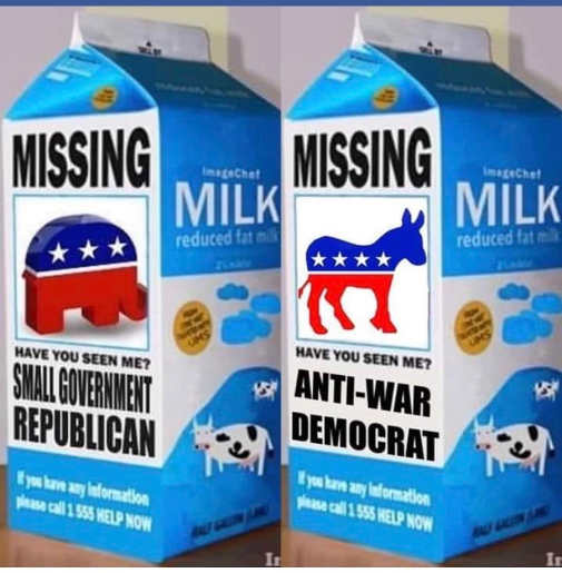 milk carton missing small government republican anti war democrat