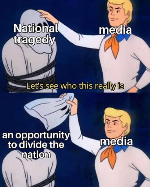 national tragedy scooby doo reveal media opportunity to divide nation