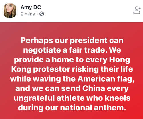 quote amy dc maybe president can negotiate trump of protesting athletes for hong kong freedom protestors
