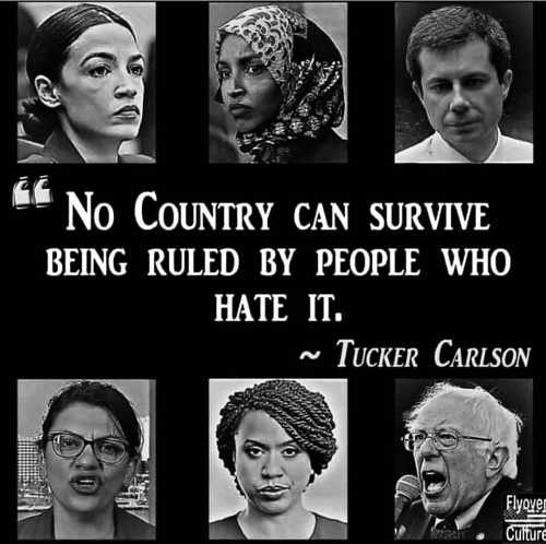 quote no country can survive being ruled by people who hate it tucker carlson tlaib omar buttigieg bernie aoc