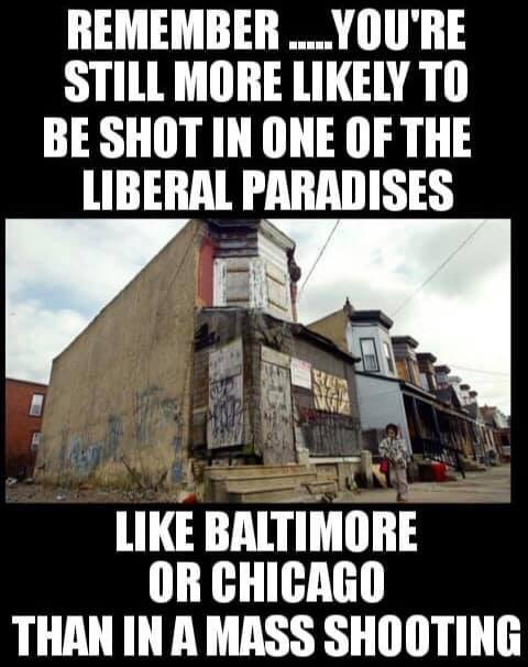 remember still more likely to be shot in liberal paradises of baltimore chicago than mass shooting