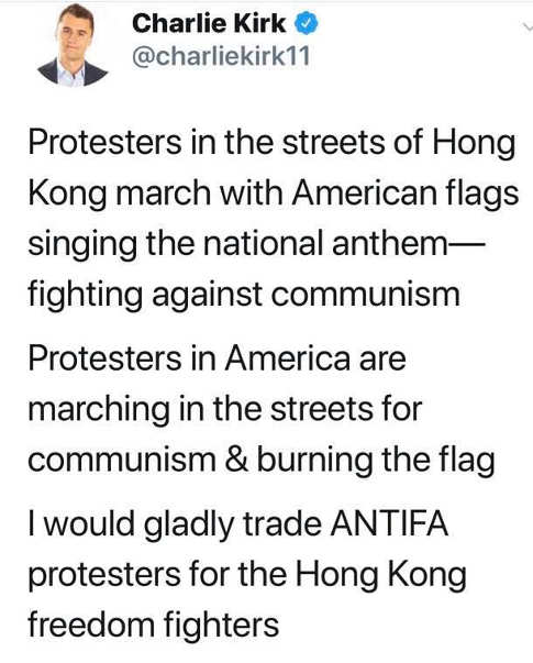 tweet charlie kirk protesters in hong kong vs america gladly trade