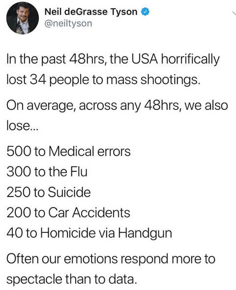 tweet degrasse tyson stats on shootings compared to medical errors flu suicide accidents