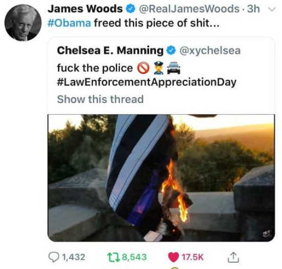 tweet james woods obama freed chelsea manning fuck the police burning flag