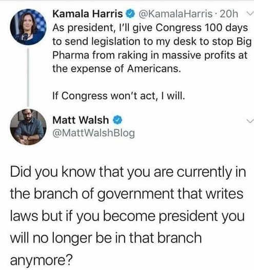 tweet kamala harris pharma profits youre in branch that writes laws not as president