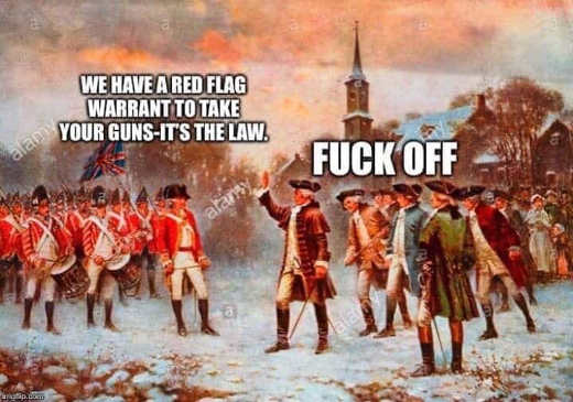 we have red flag warrant to take your guns its the law fuck off colonists to britain