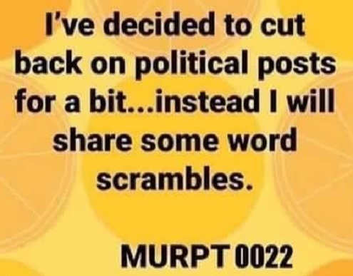 decided to cut down on political posts word scramble trump 2020