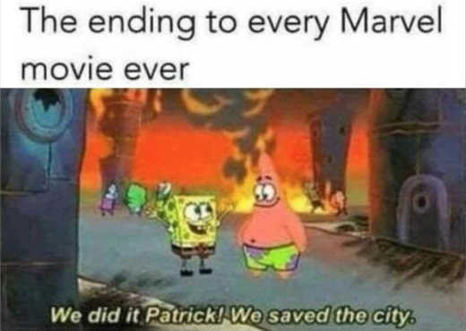 ending of every marvel movie we saved the city burning