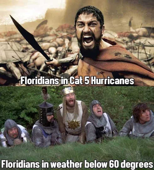 floridians in cat 5 hurricane compared to below 60 degrees