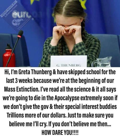 greta thunberg skipped school cries to push climate change propaganda