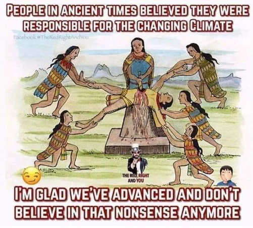 people in ancient times believed responsible for climate glad to see weve advanced from that nonsense