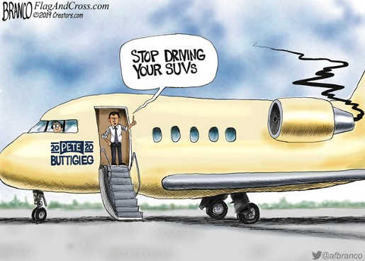 pete buttigieg coming off private jet stop driving suvs