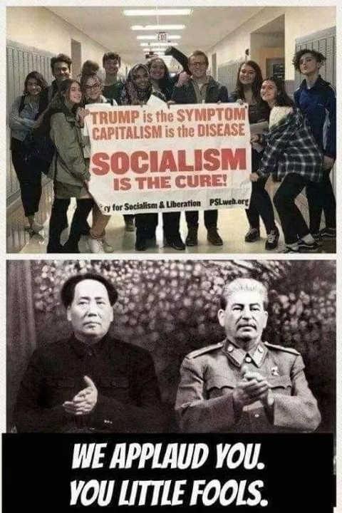 trump is symptom capitalism cause socialism cure mao stalin applaud little fools