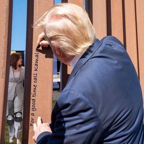 trump signing wall for good time call kamala harris