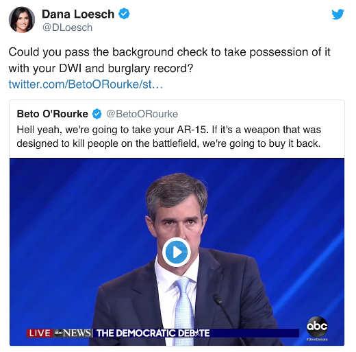 tweet dana loesch beto orouke burglar dui confiscating guns