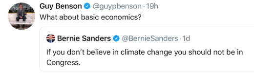 tweet sanders no politician doesnt believe in climate change in congress benson what about basic economics