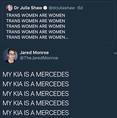 tweet trans women are women my kia is a mercedes
