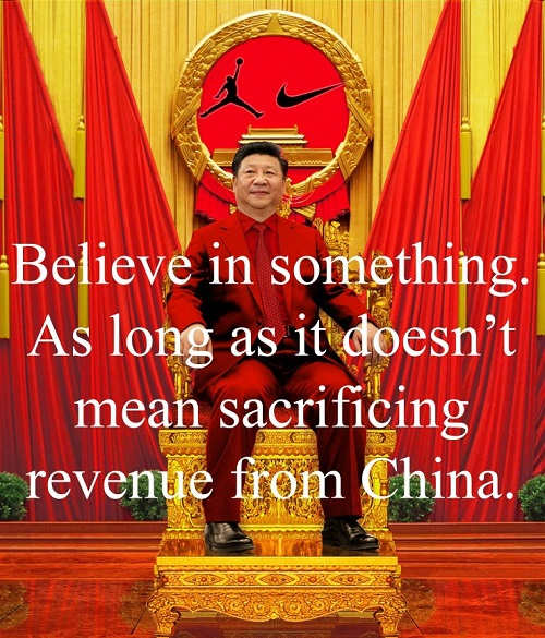 believe in something nike as long as it doesnt mean sacrificing revenue from china