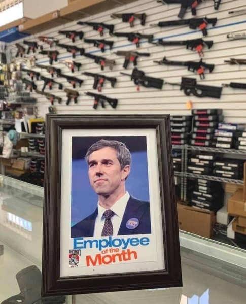beto o rourke employment of month sign gun store