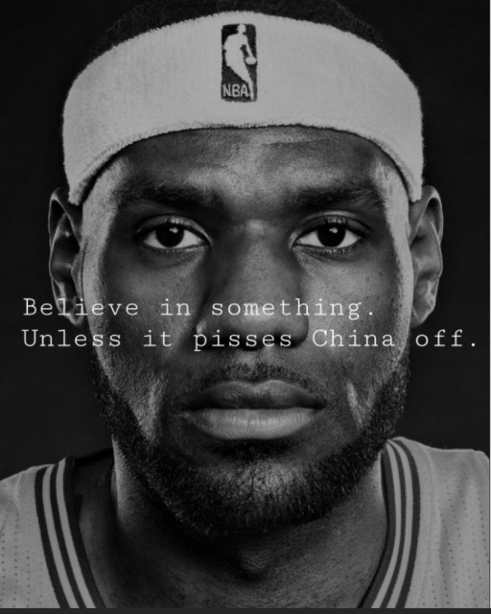 lebron james believe in something unless pisses off china