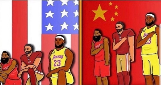 lebron james colin kaepernick nba nfl kneel for american flag stand for chinese flag