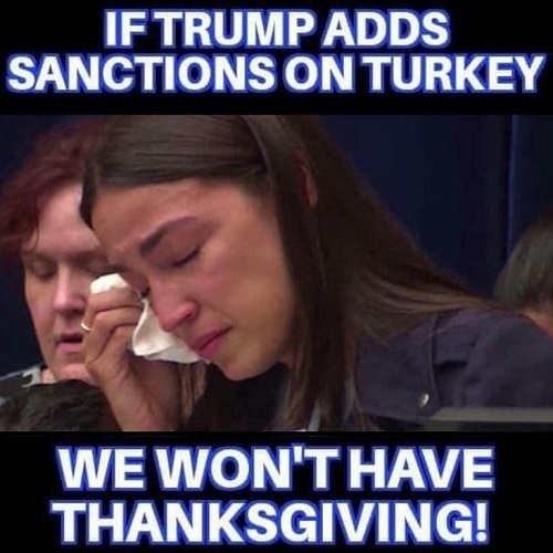 ocasio cortez if trump put sanctions on turkey wont be able to have thanksgiving