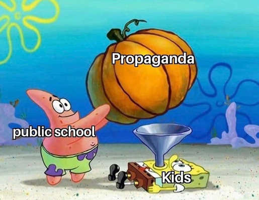 public school feeding propaganda to kids sponge bob