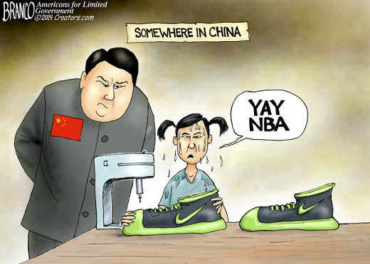 somewhere in china yah nba sweatshop making shoes nike