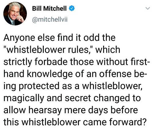 tweet anyone else find it odd whistleblower rules changed days before came forward