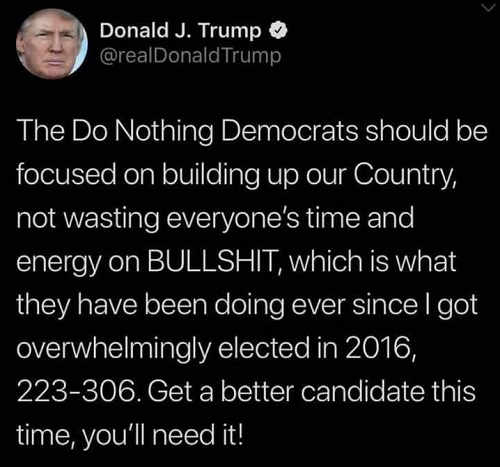 tweet donald trump do nothing democrats should be focused on building up country