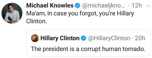 tweet knowles hillary clinton president is corrupt human tornado