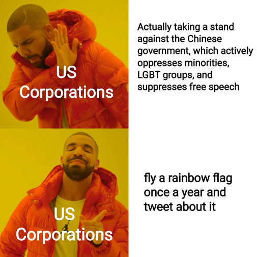 us corporations actually taking stand against chinese oppressors fly rainbow flag tweet about it