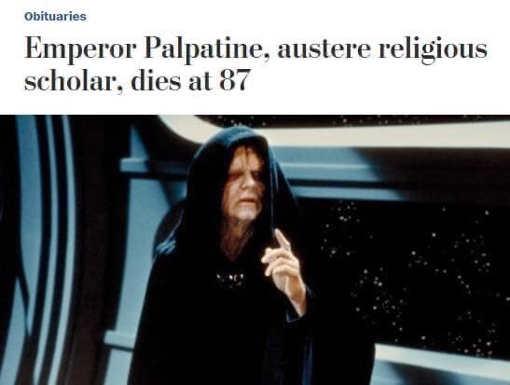 washington post headline emperor palpatine austere religious scholar dies at 87