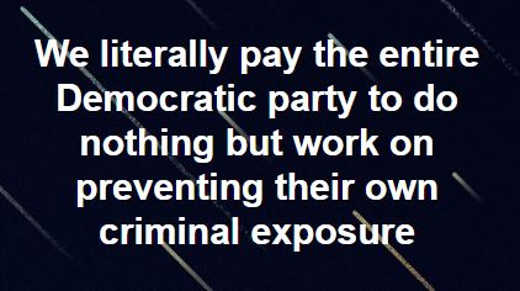 we pay democrats to do nothing but prevent their own crime exposure