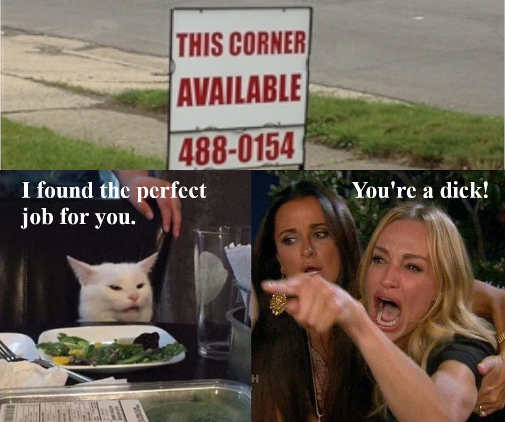angry lady diaz cat this corner available for job for you