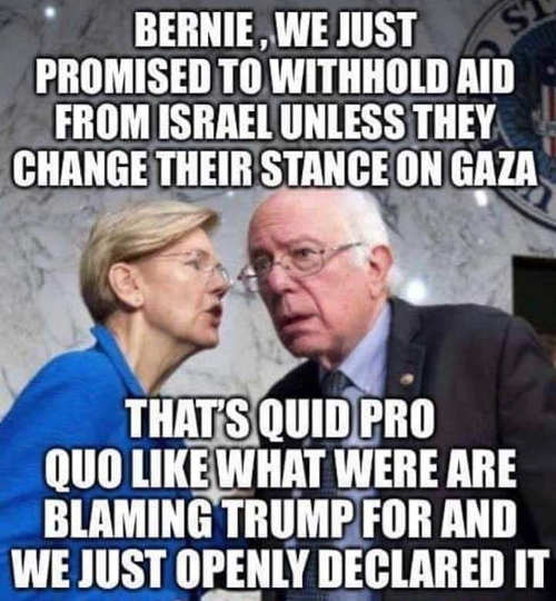 bernie sanders elizabeth warren thats quid pro quo israel same thing blaming trump for