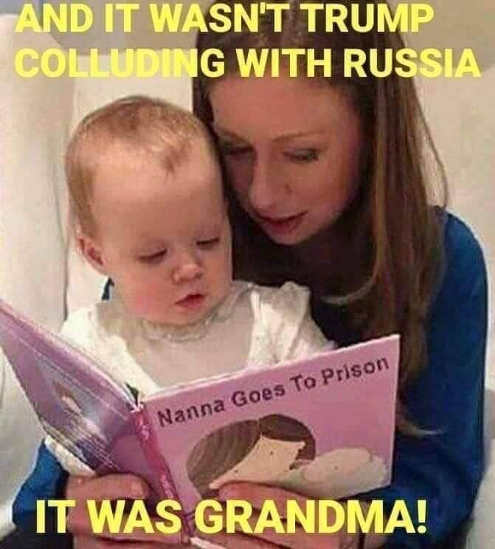 chelsea clinton reading russia didnt collude with trump it was grandma hillary